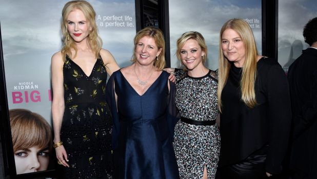 Author Liane Moriarty, second from left, with Nicole Kidman, Reese Witherspoon and producer Bruno Papandrea.