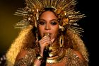 A heavily pregnant Beyonce performing at the Grammy Awards earlier this year.