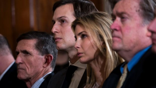 Jared Kushner and his wife Ivanka Trump at the White House during the visit of Japanese Prime Minister Shinzo Abe. At ...