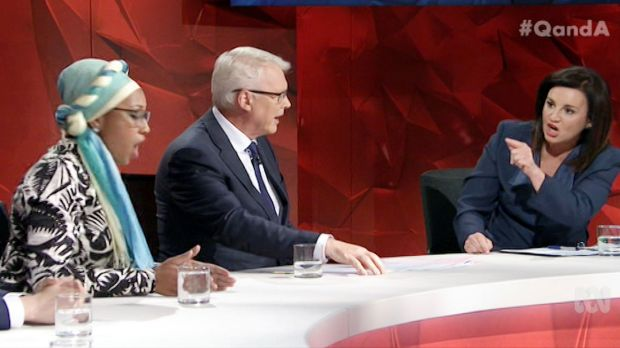 Panellist Yassmin Abdel-Magied, host Tony Jones and Tasmanian senator Jacqui Lambie on Q&A on Monday night.