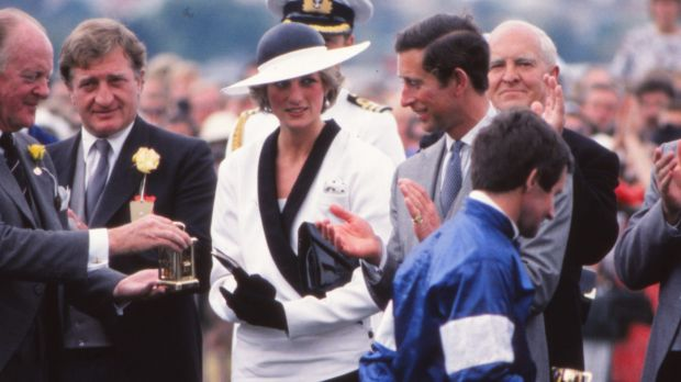 Hilton Nicholas (left), chairman of the VRC, during a presentation ceremony with Princess Diana and Prince Charles at ...