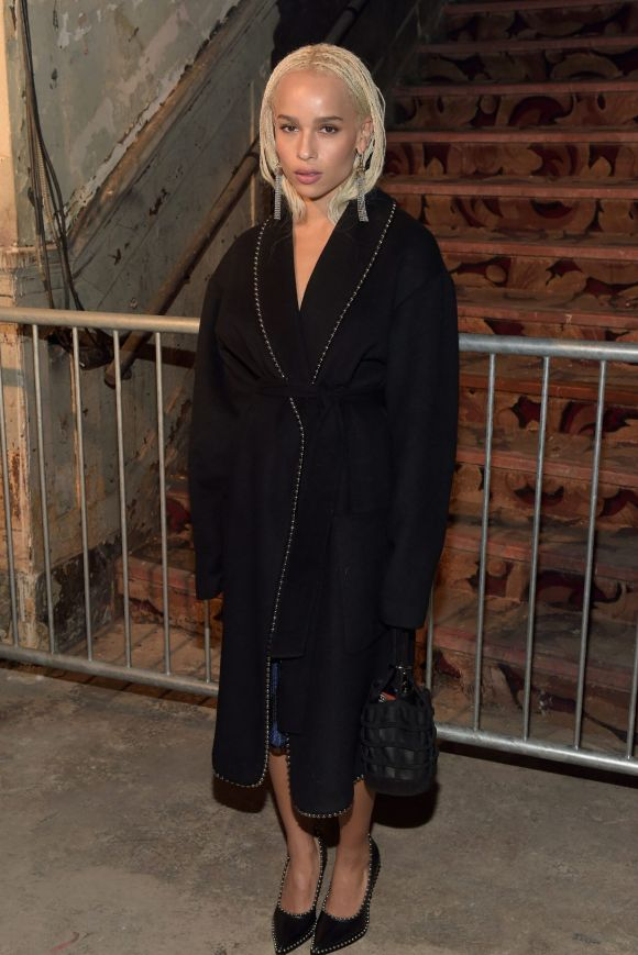 We can't work out whether Zoe Kravitz is wearing a dressing gown or a coat? into it regardless.