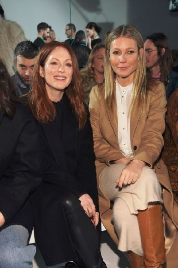 Julianne Moore and Gwyneth Paltrow wore smart casual to Calvin Klein show.