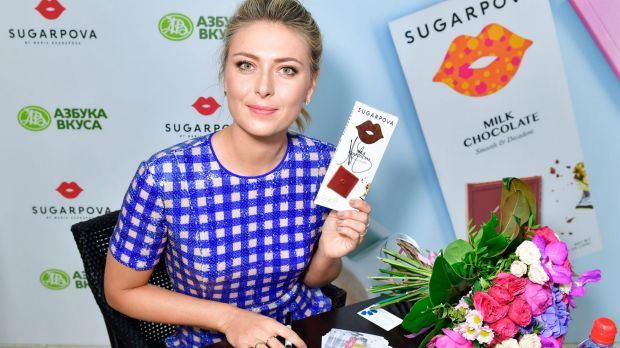 Readying for a comeback: Maria Sharapova, pictured at the launch of her confectionery range earlier this month.