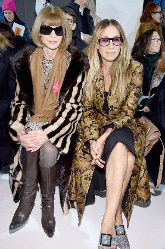 It was all about the coats and Planned Parent Hood badge of honour for Anna Wintour and Sarah Jessica Parker at the ...