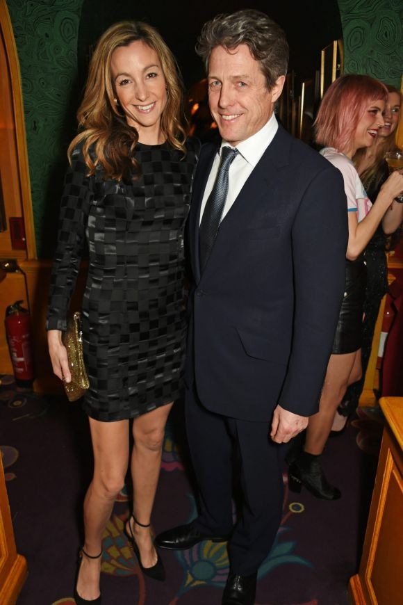 Hugh Grant (L) and Anna Elisabet Eberstein attend a pre BAFTA party hosted by Charles Finch and Chanel at Annabel's on ...