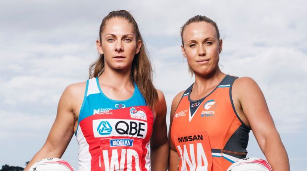 Captain's call: NSW Swifts Abbey McCulloch and Giants Kimberlee Green.
