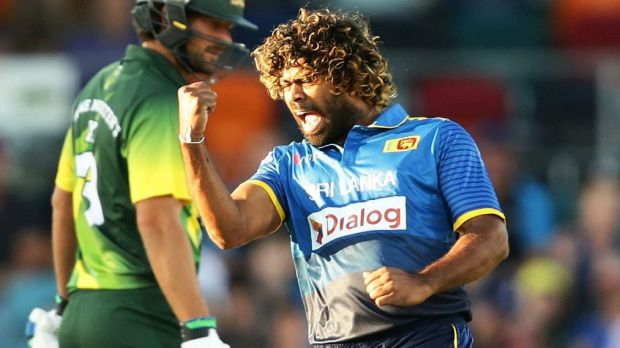 Lasith Malinga of Sri Lanka celebrates taking the wicket of D'Arcy Short at Manuka Oval.