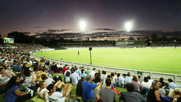 Manuka Oval was about half full for the PM'sXI fixture on Wednesday night.
