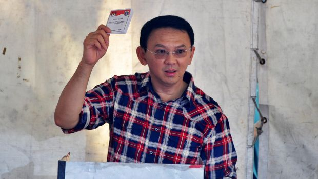 Jakarta's Governor Ahok votes in the first round og elections for governor of Jakarta.