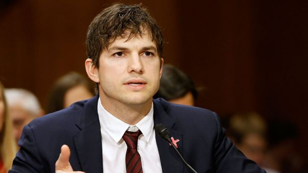Ashton Kutcher teared up as he testified about human trafficking at the Senate Foreign Relations on Wednesday in ...