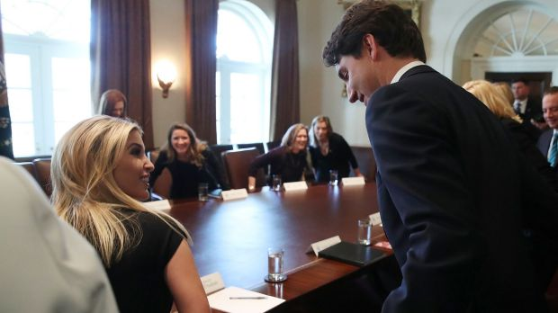 Eyes for him only ... Ivanka Trump and Justin Trudeau.