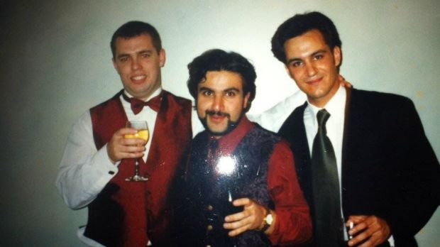 Ross Farhadieh (right) at medical school at the University of NSW with classmates including Arash Salardini (middle), ...
