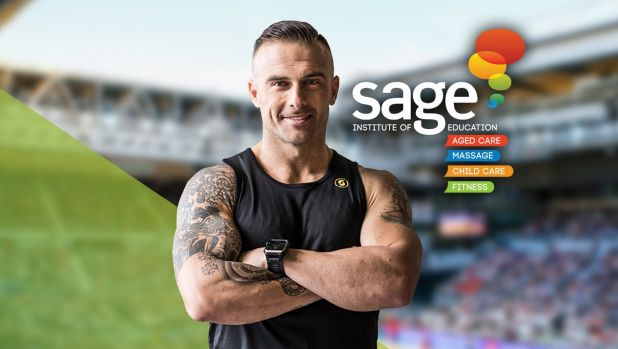 Advertisement for Sage Institute of Fitness which featured Commando Steve.