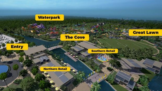 "The first stage includes the water park, the sports field – described as ""The Great Lawn"" – plus kayaking, bungy ..."