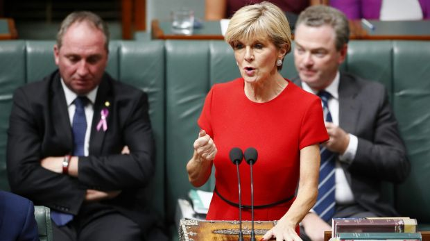 Foreign Minister Julie Bishop during Question Time on Thursday.