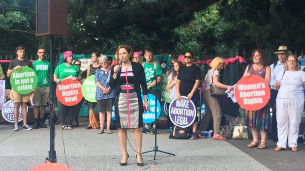 Jackie Trad addresses pro-choice abortion activists as they rally in Brisbane.
