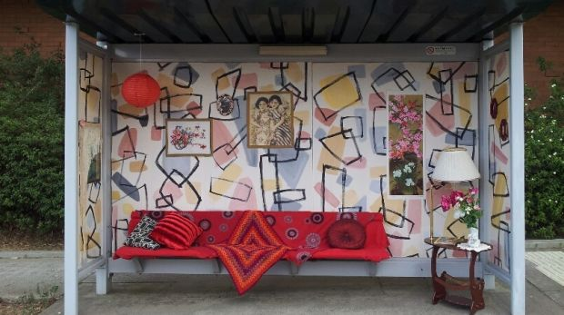 The Alphington bus stop was turned into a 1950s living room in 2016.