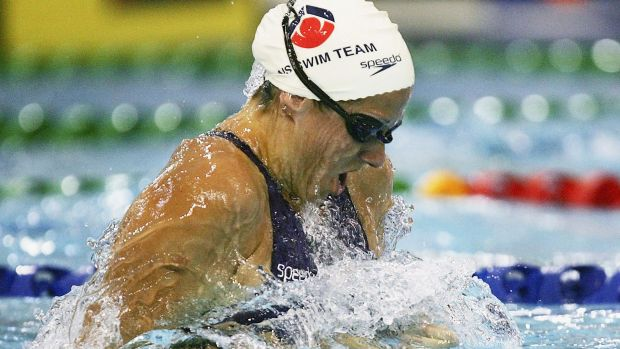 Jade Edmistone in action during the 50-metre breaststroke at the Australian Short Course Championships in Melbourne, 2005.