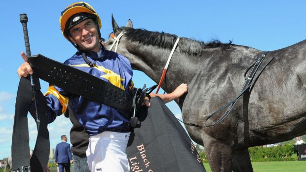 Dwayne Dunn after riding Chautauqua in last year's Lightning Stakes.