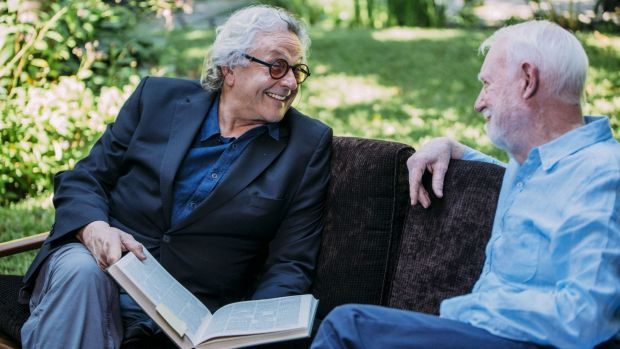 Film director George Miller, with David Stratton in the new film about Stratton's life and career that features a ...