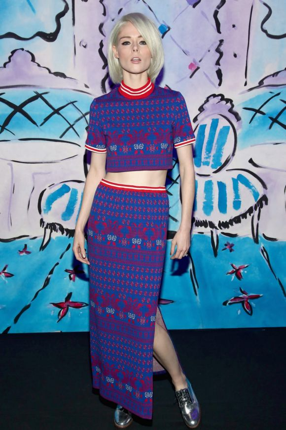 Model Coco Rocha brought the vibrancy that Anna Sui has become synonymous with, wearing an electric blue and red printed ...