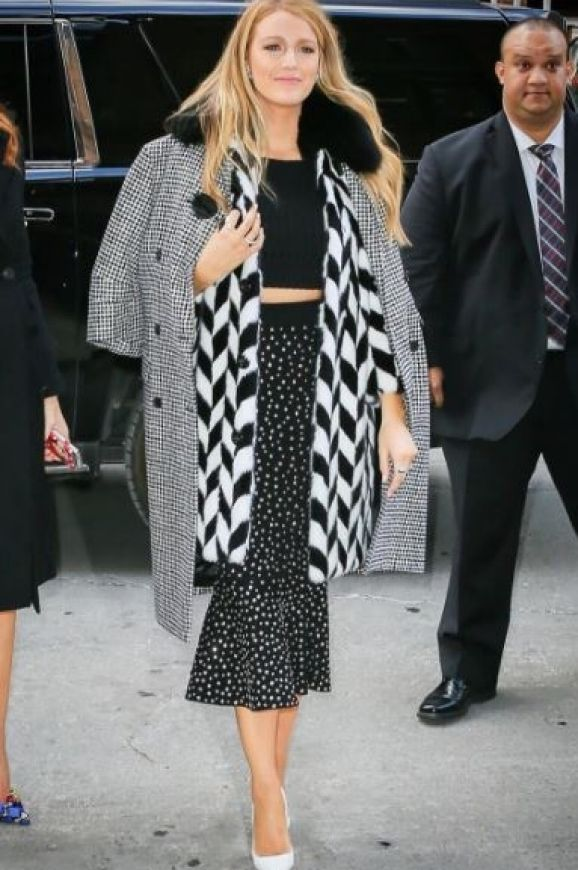 Labelling this look 'Cruella' on Instagram, we are all for Blake Lively's monochrome clashing prints.