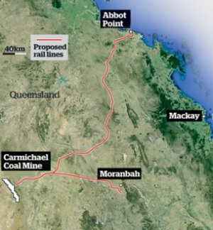 The proposed rail line to Abbot Point, Queensland.