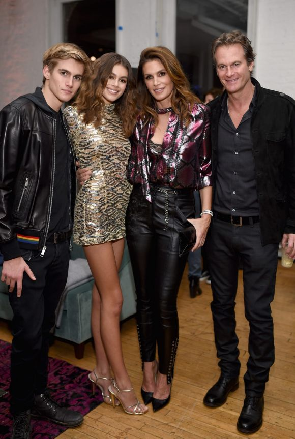 Presley Gerber, Cindy Crawford and  Rande Gerber support Kaia Gerber at the launch party of her beauty collaboration ...