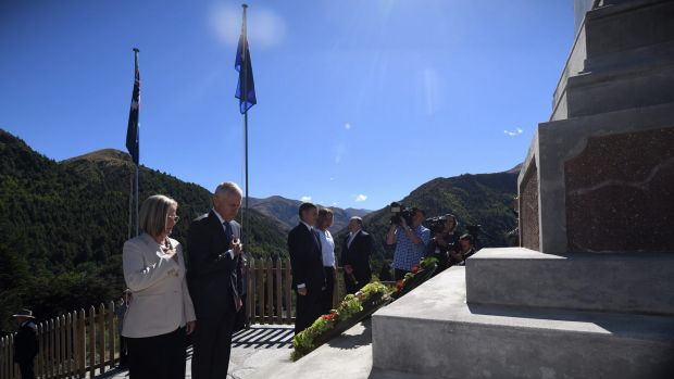 Prime Minister Malcolm Turnbull with his wife Lucy lay a wreath at the war memorial in Arrowtown near Queenstown, New ...