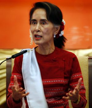 "Myanmar State Counsellor Aung San Suu Kyi speaks during the ""Peace Talk"" conference in Myanmar on January 1."