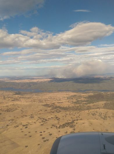 The Queanbeyan fire as seen from the air.