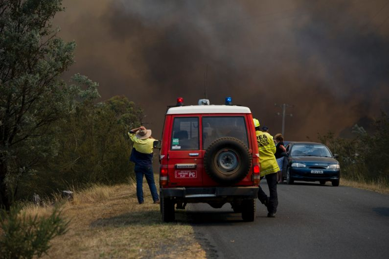 Firefighters at the bushfire near Queanbeyan, NSW.