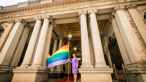 The lord mayor of the City of Sydney, Clover Moore, celebrates the beginning of the 2017 Sydney Gay and Lesbian Mardi ...