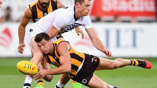 Jaeger O'Meara in the thick of the action for the Hawks.