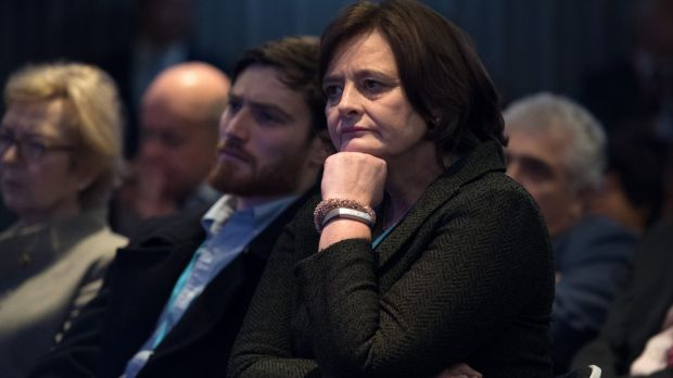 Cherie Blair looks on as her husband, former British PM Tony Blair, delivers a keynote speech at a pro-European Union ...