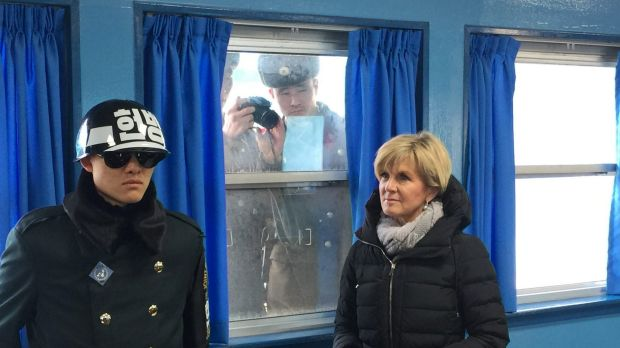 North Korean soldiers photograph Foreign Affairs Minister Julie Bishop during a trip to the demilitarised zone in South ...