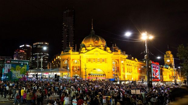 Thousands of people flocked to the CBD for White Night