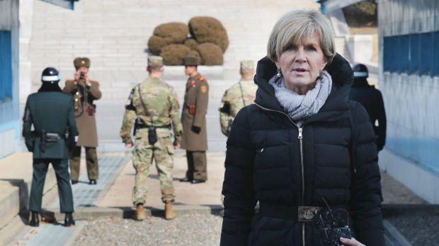 Foreign Minister Julie Bishop speaks to the media during her visit to the border village of Panmunjom in  South Korea in ...