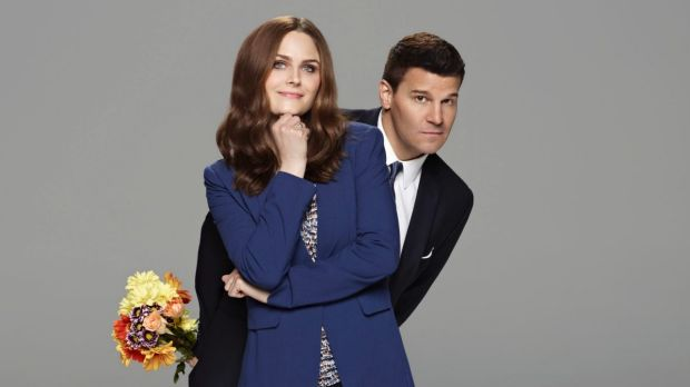 Emily Deschanel and David Boreanaz in Bones.