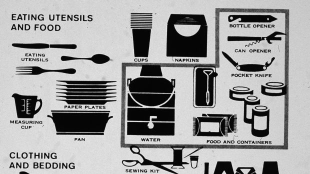 Illustrations of recommended supplies (food, first aid, tools etc.) for stocking a family bomb shelter during the Cold ...