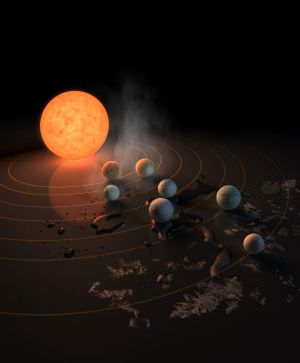 The TRAPPIST-1 star, an ultra-cool dwarf, has seven Earth-sized planets orbiting it. This is the front cover image for ...