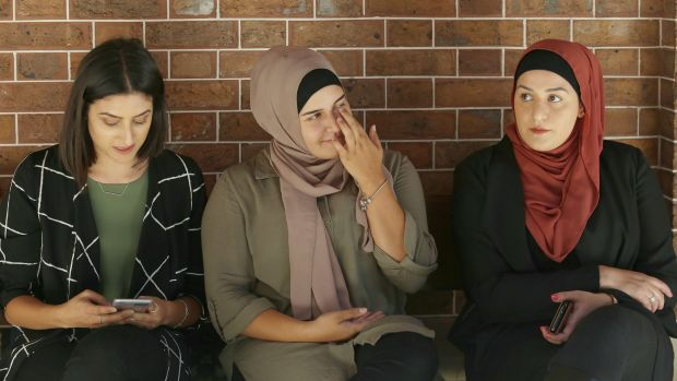 (From left to right)  Nour, Ola and Armani Haydar outside the NSW Supreme Court during the trial of their father Haydar ...
