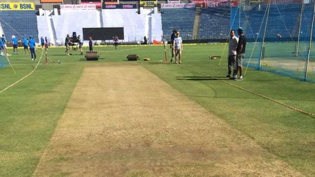 The Pune pitch is drier than a bone.