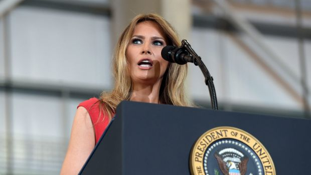 """Melania Trump speaks at the """"Make America Great Again Rally"""" in Florida on February 18, 2017."""