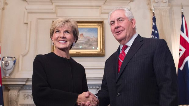 Foreign Minister Julie Bishop, pictured with US Secretary of State Rex Tillerson last year.