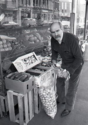 Con Miriklis, the inspiration for TV character Con the Fruiterer, at his  shop in Brunswick Street, Fitzroy, in the ...