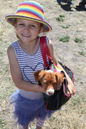Liesel Groenewald with her canine fashion accessory at the Tyrendarra Show.