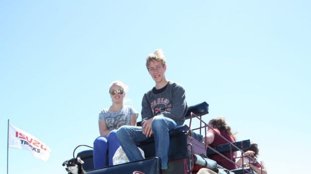 Trip back in time: Brianna, 14, and Colby, 15, Wilksch get ready for a ride on Andrew Duyvestyn's reproduction coach.