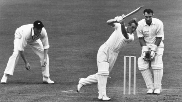 An eye for the sharp single: Peter Richardson playing against New Zealand at Old Trafford, 1958.